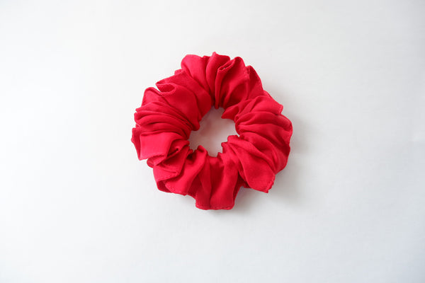 Stephany Red Cotton Satin Silk Scrunchy - Republic of Mode