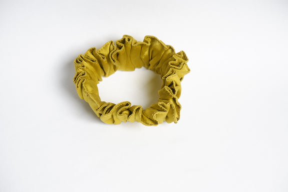 Stephany Mustard Silk Scrunchy - Republic of Mode