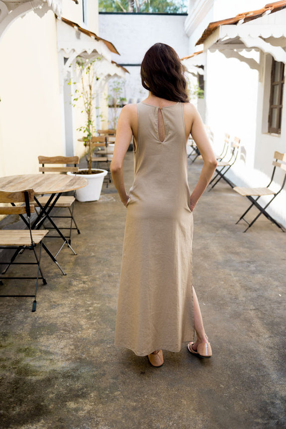 Creamoda Maxi Dress w/ Slits Back View - Republic of Mode