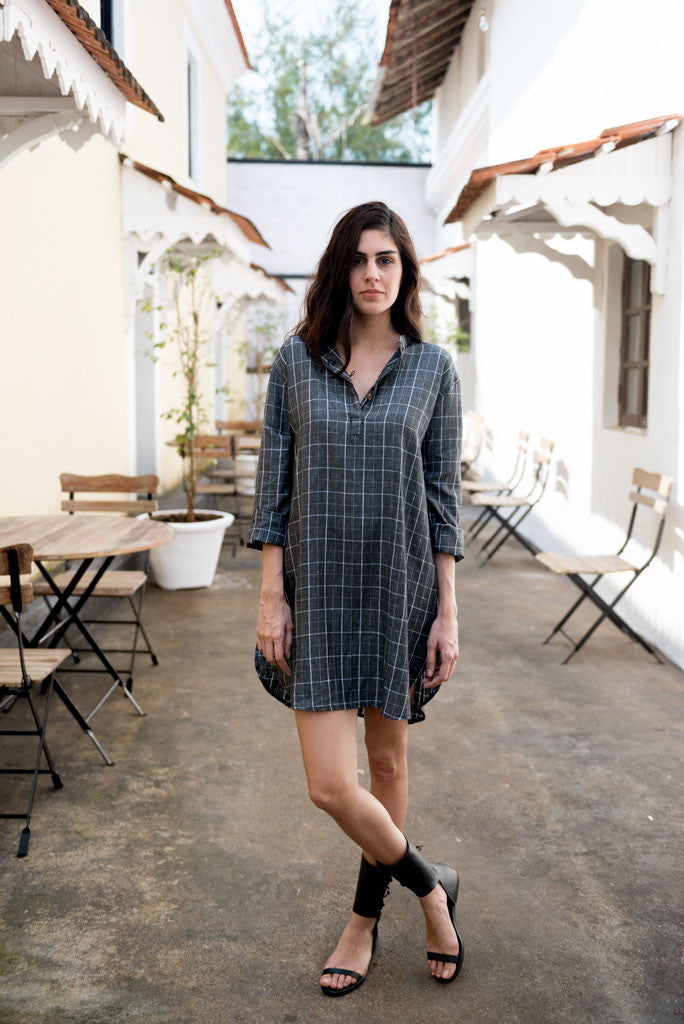Creamoda Checkered Mini Shirt Dress Featured View - Republic of Mode