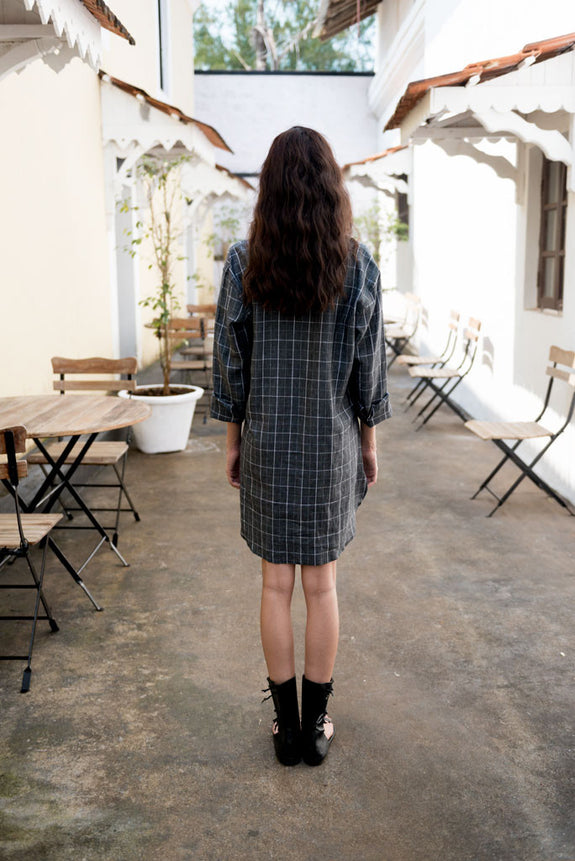 Creamoda Checkered Mini Shirt Dress Back View - Republic of Mode