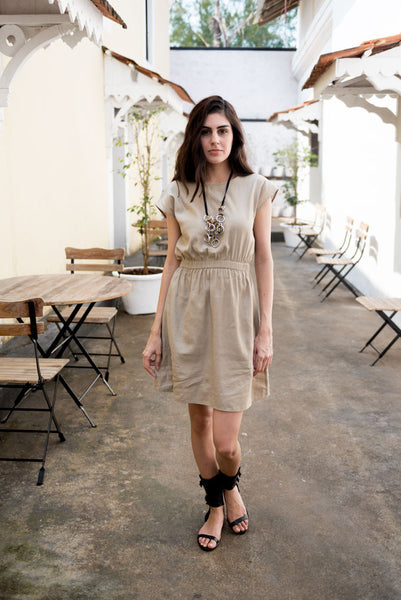 Creamoda Elasticated Smock Dress Featured View - Republic of Mode