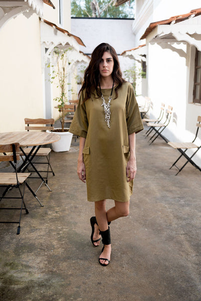 Creamoda Roll-Up Sleeve Dress Featured View - Republic of Mode