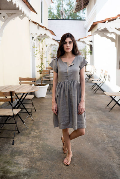 Creamoda Smock Dress w/ Placket Detail Featured View - Republic of Mode