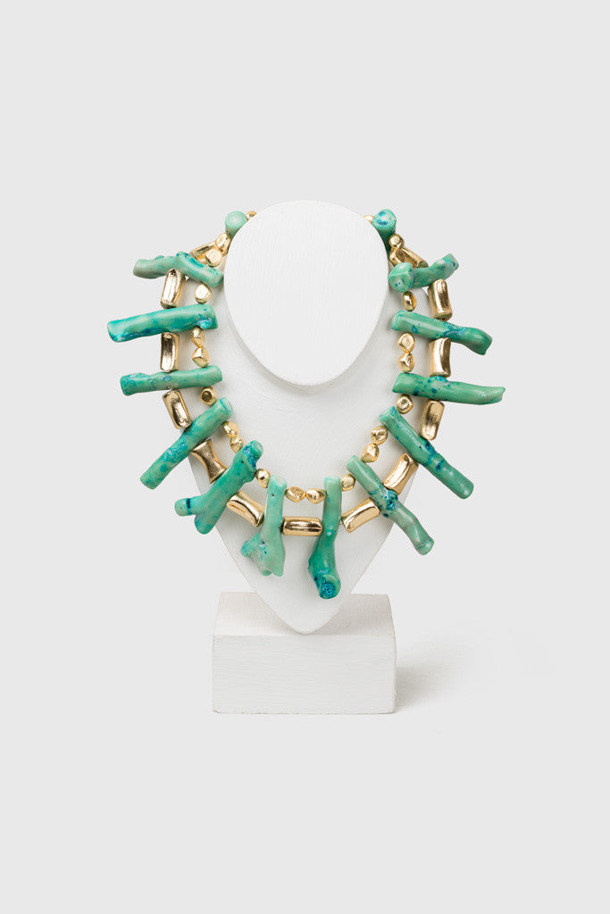 Paul B Turquoise & Gold Maxi Choker Featured View - Republic of Mode