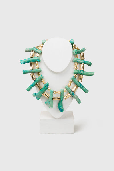 Paul B Turquoise & Gold Maxi Choker - Republic of Mode