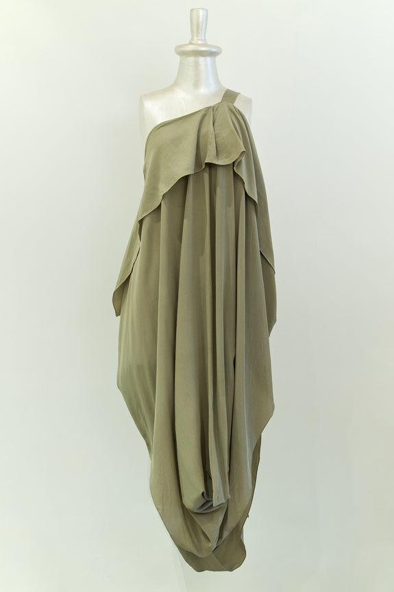 Stephany Draped Front Pleat Strap Dress - Republic of Mode