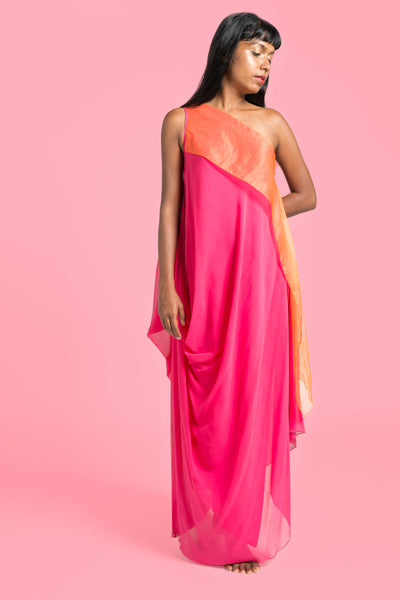 Stephany One Shoulder w/ Organza Drape - Republic of Mode