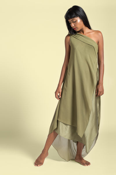 Stephany Back Draped Layered One Shoulder Dress - Republic of Mode