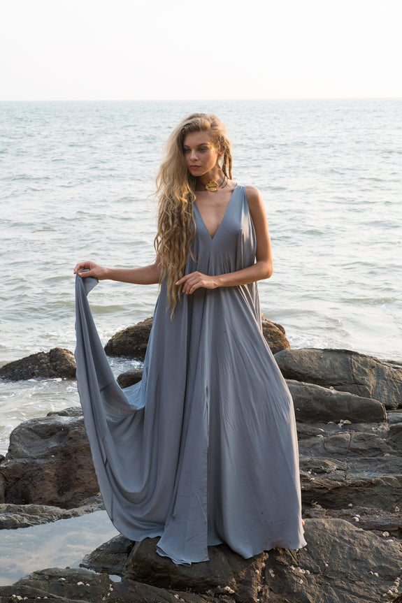 Stephany Low V-Neck Long Dress - Republic of Mode