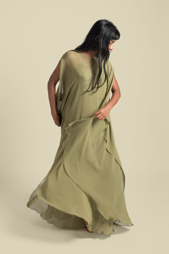Stephany Gold Detailed Kaftan Style Dress w/ Slip - Republic of Mode