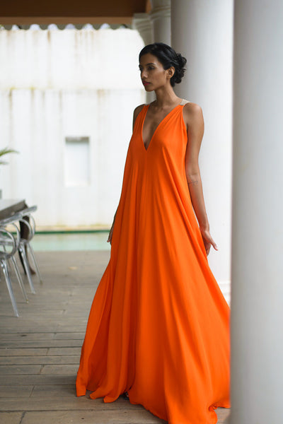 Stephany Color-Block V-Neck Maxi Dress - Republic of Mode