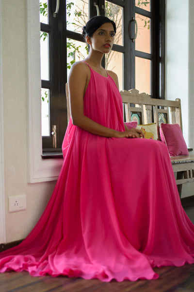Stephany Back-Pleated Strappy Draped Dress in Pink Color Featured View - Republic of Mode