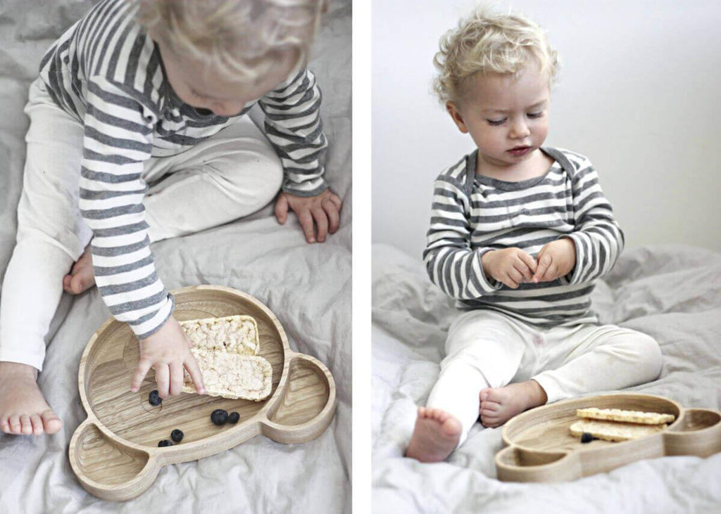toddler snacks on wooden bear plate