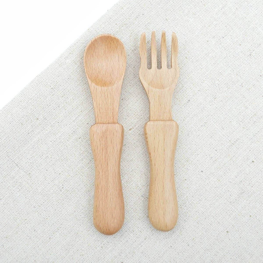 Natural Wooden Baby Cutlery Set - Blue Brontide
