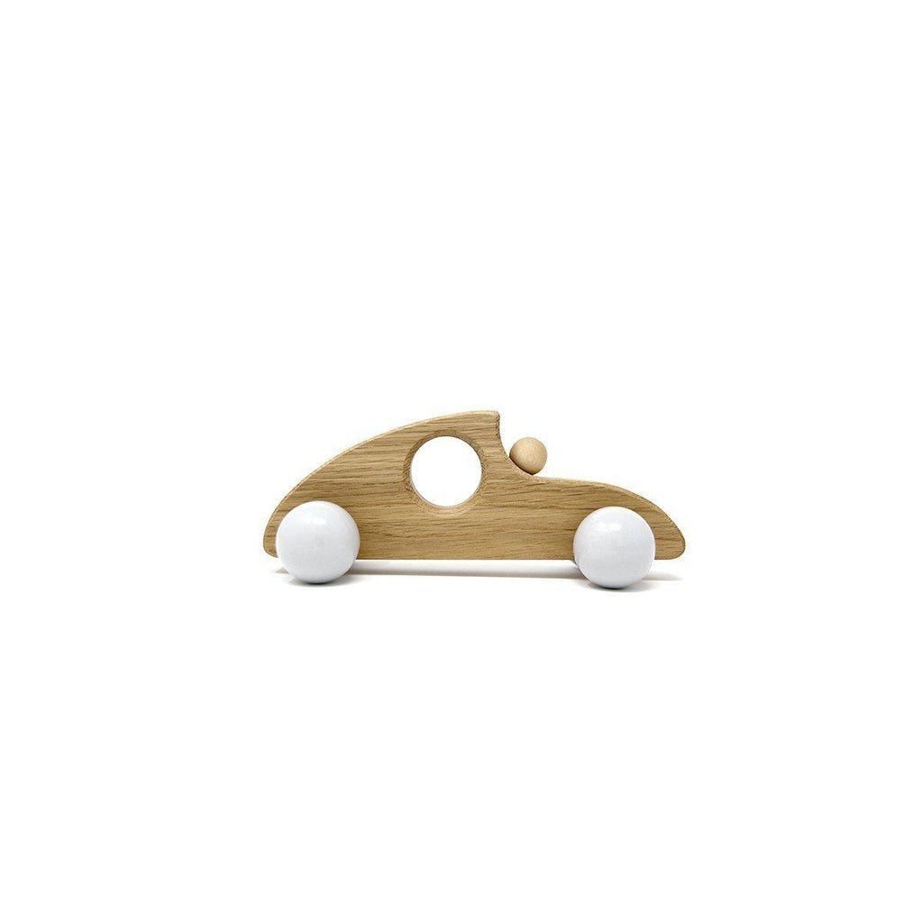 Hop & Peck - Sustainable wooden toy sports car - Blue Brontide