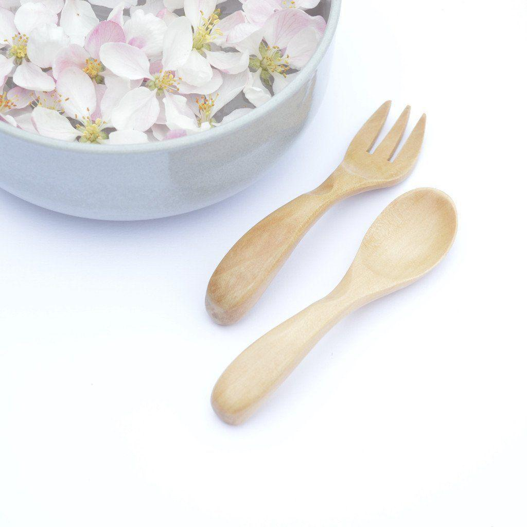 Natural Wooden Baby Spoon & Fork Set - bluebrontide
