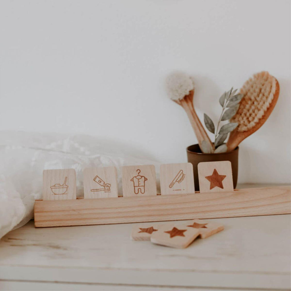 Montessori Daily Routine Cards - Morning with Shelf