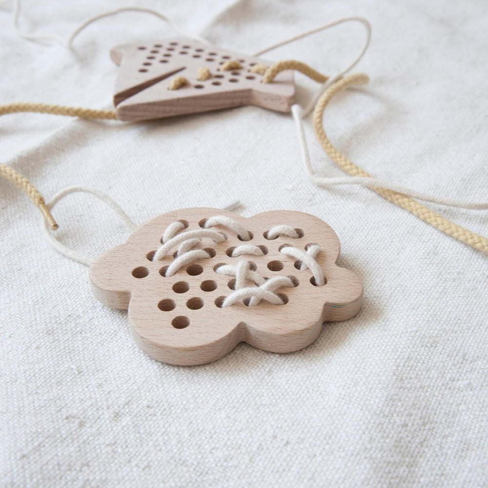Wooden Lacing / Threading Toy - Cloud