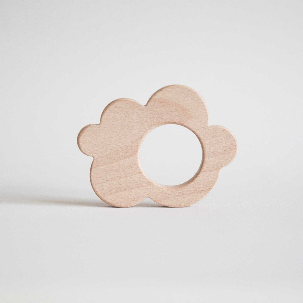 Eco Natural Wooden Baby Teether | Soother - Cloud - Bluebrontide