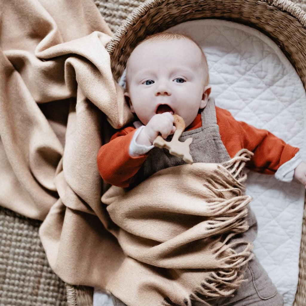 Super Soft Lambswool Baby Blanket - Sand