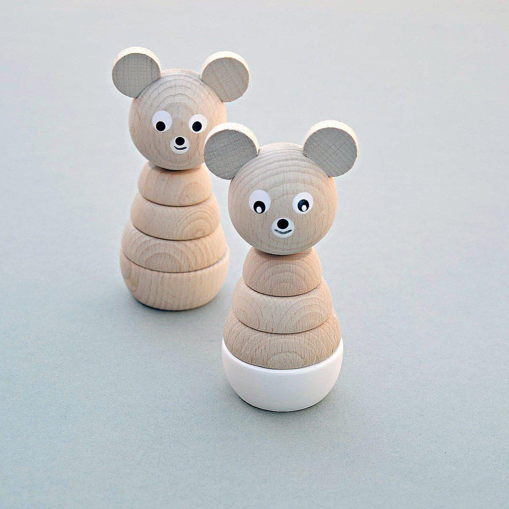 Wooden Stacking Bear - White