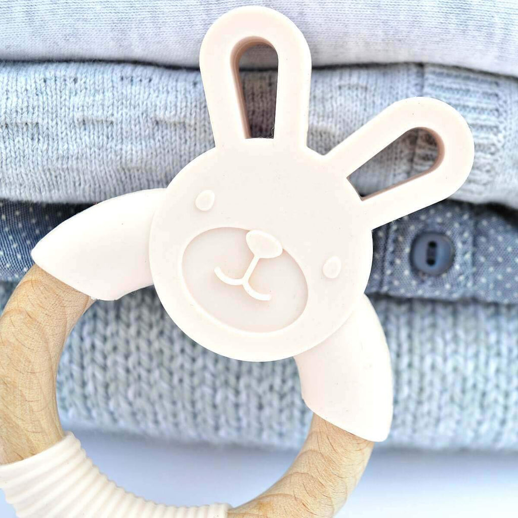 Blue Brontide Organic Baby Teethers Bunny Teether - Blush