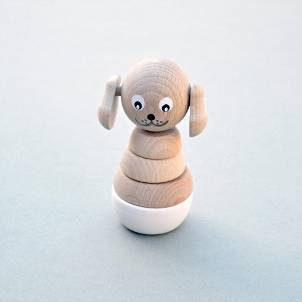 Wooden Stacking Dog Toy - White