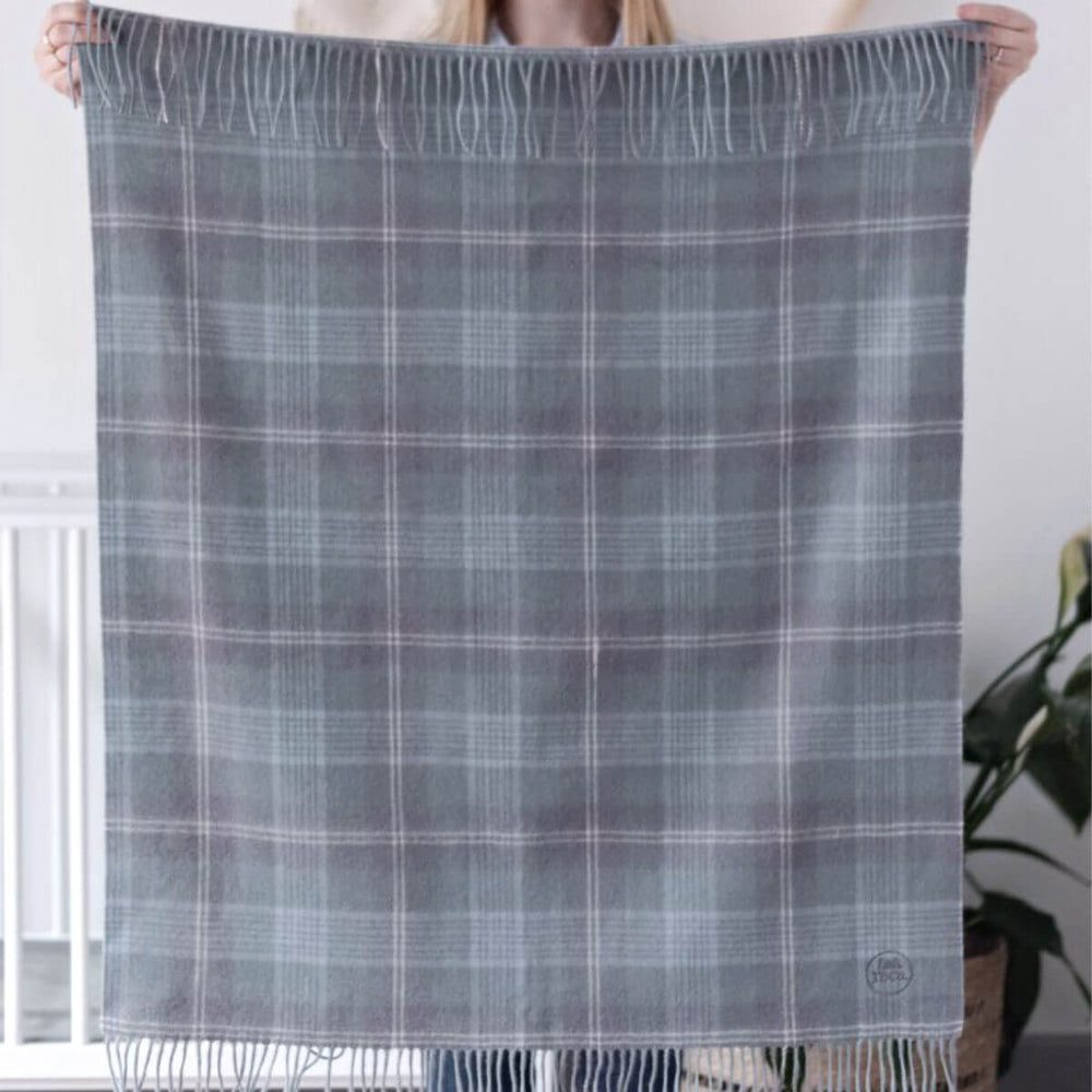 Super Soft Lambswool Baby Blanket - Misty Blue Check