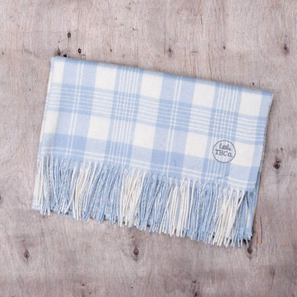 Super Soft Lambswool Baby Blanket - Powder Blue Check