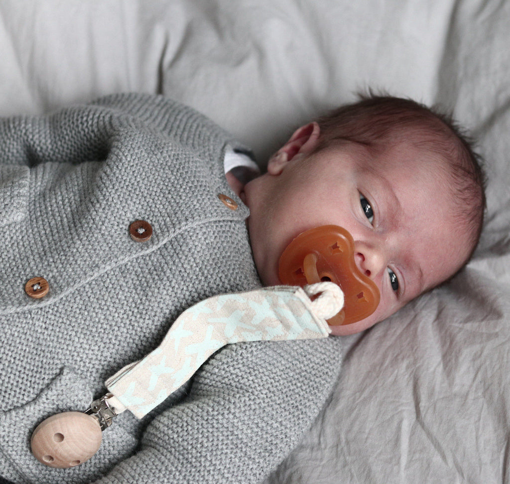 Organic Dummy Pacifier clip - Kisse's in Duck Egg
