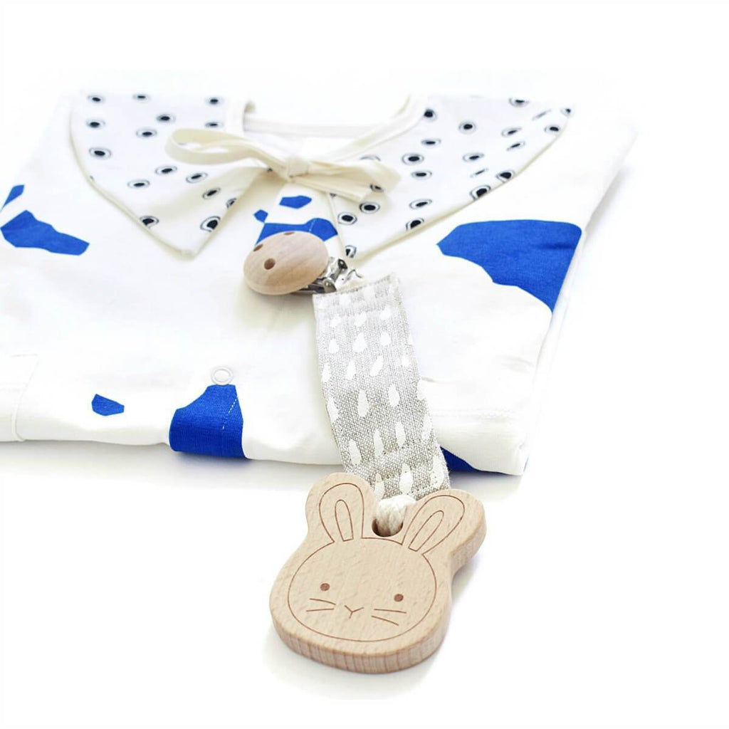 Organic Dummy Pacifier Clip - Rain in Alabaster