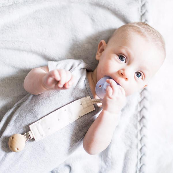 XOX Organic Dummy/Pacifier Clip - Blue Brontide
