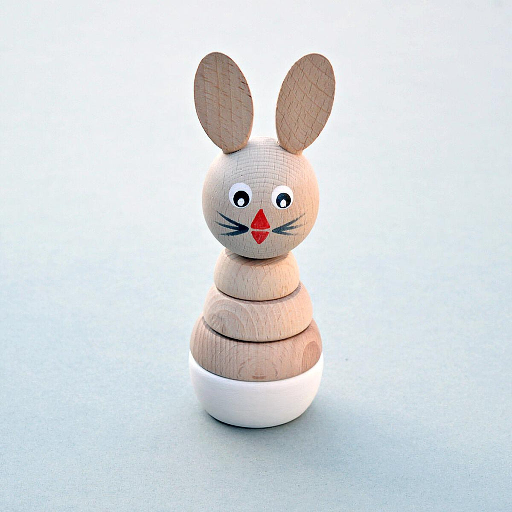 Wooden Rabbit Stacking Toy - White