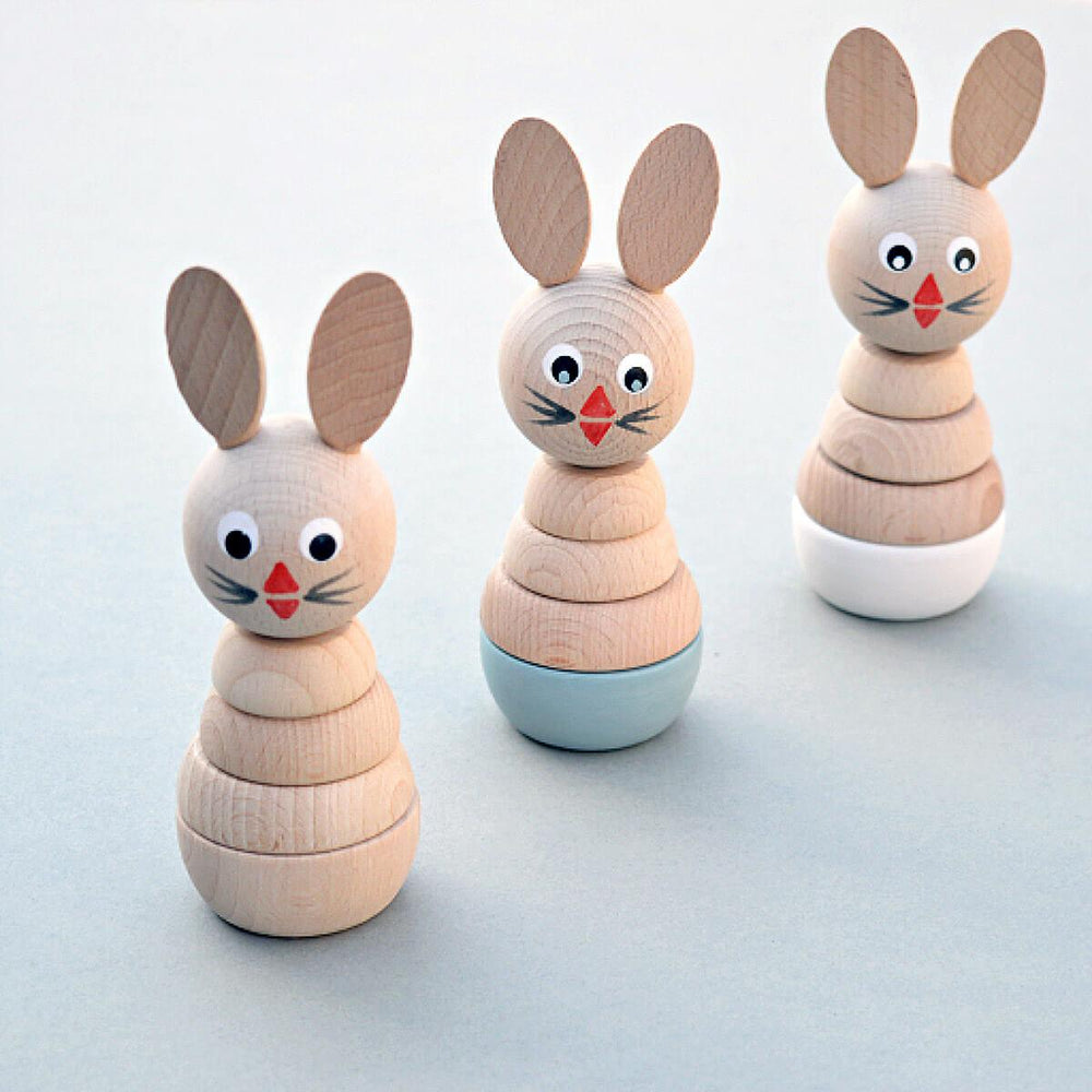 Wooden Rabbit Stacker - White