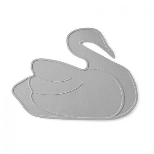 Swan placemat - grey silicone - Bluebrontide