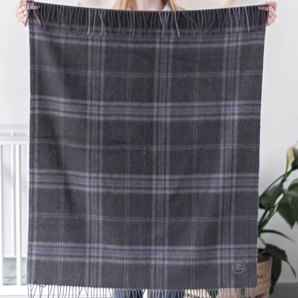 Super Soft Lambswool Baby Blanket - Persevere Flint Grey Tartan