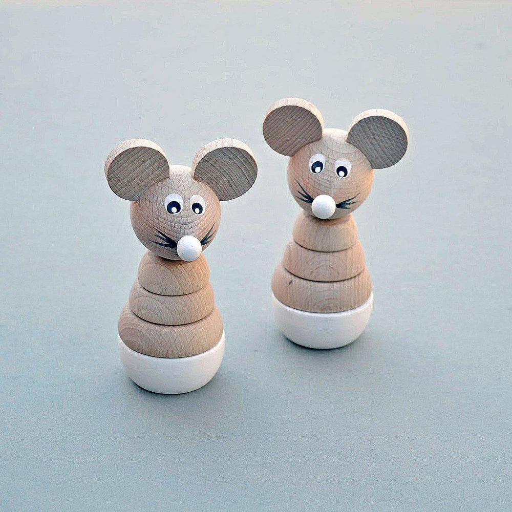 Wooden Mouse Stacking Toy - White