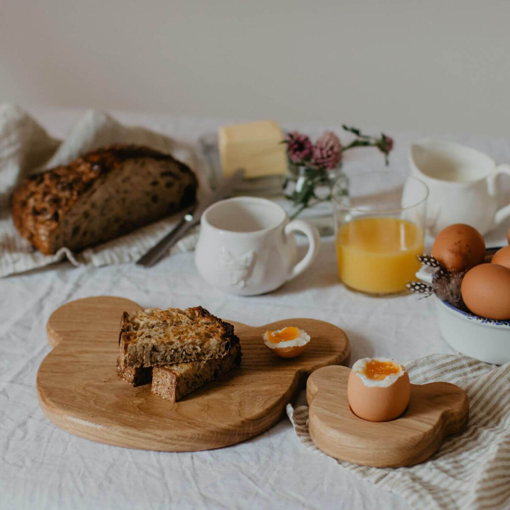 wooden breakfast board & egg cup set - bear