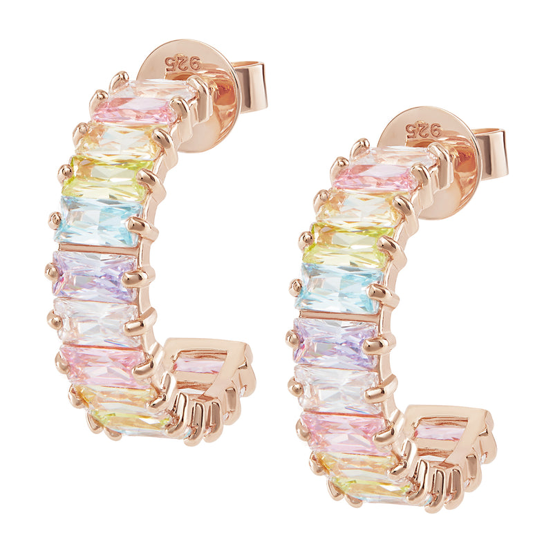 Rose Gold Pastel Rainbow Emerald Cut Hoops