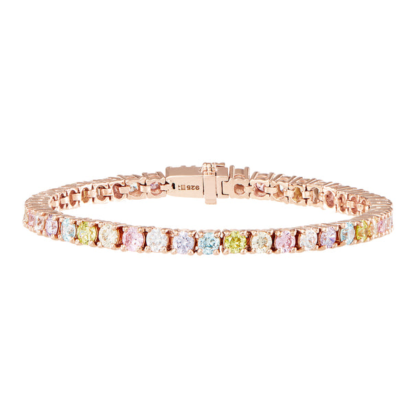 Rose Gold Pastel Rainbow Tennis Bracelet