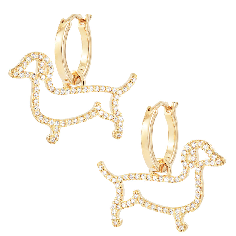 Sausage Dog Charm Hoops