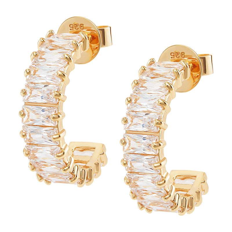A Gold half Hoop Earrings, horizontally embellished in White Emerald Cut Stones.