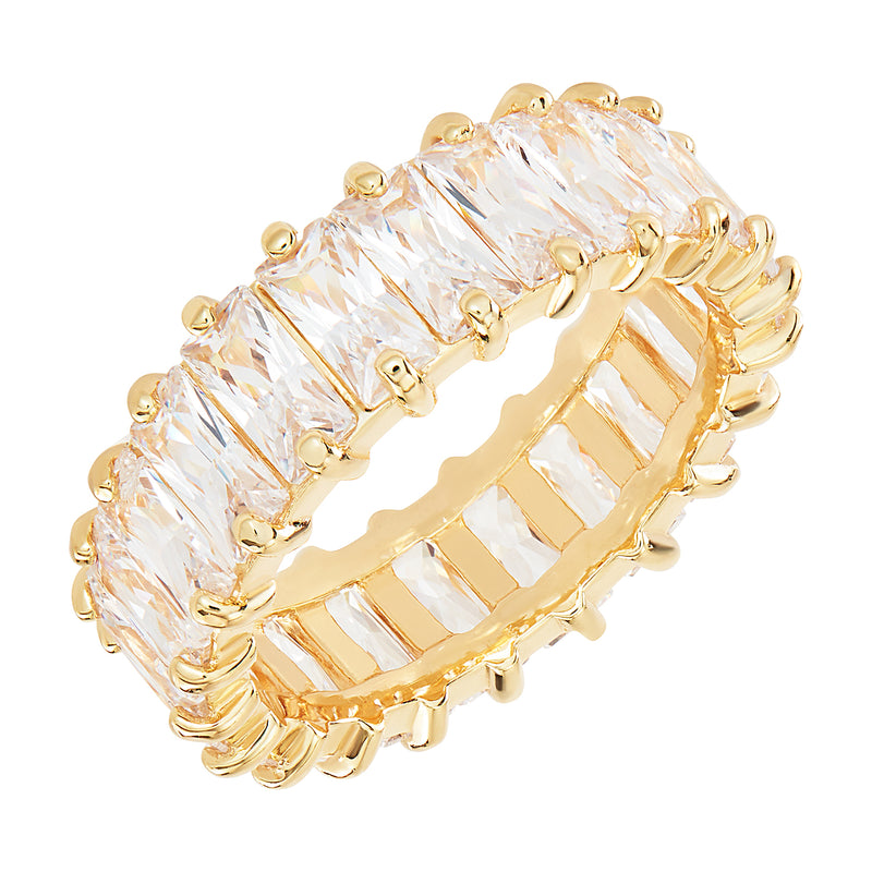 A Gold Ring Embellished in White Emerald Cut stones vertically around the whole band