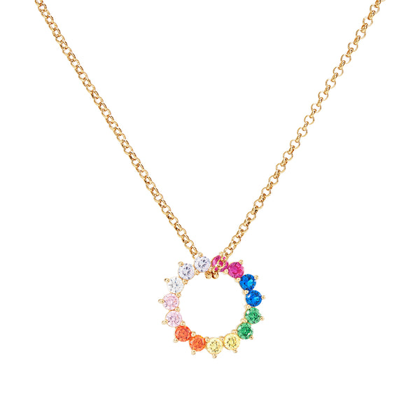 Rainbow Wheel Pendant Charm