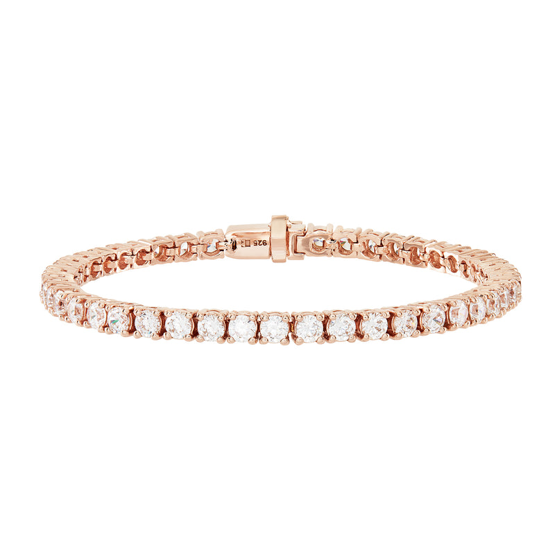 A Rose Gold Tennis Bracelet, embellished in White circular Cubic Zirconia Stones.