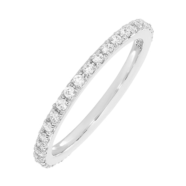 A thin Silver Stacking Ring, embellished in small circular White cubic zirconia stones.