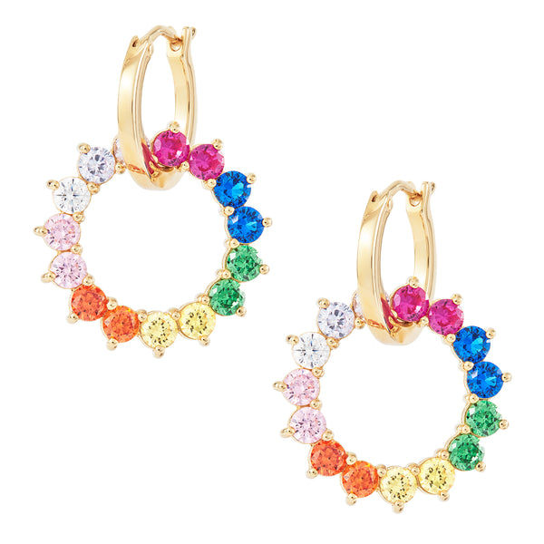 Rainbow Wheel Charm Hoops