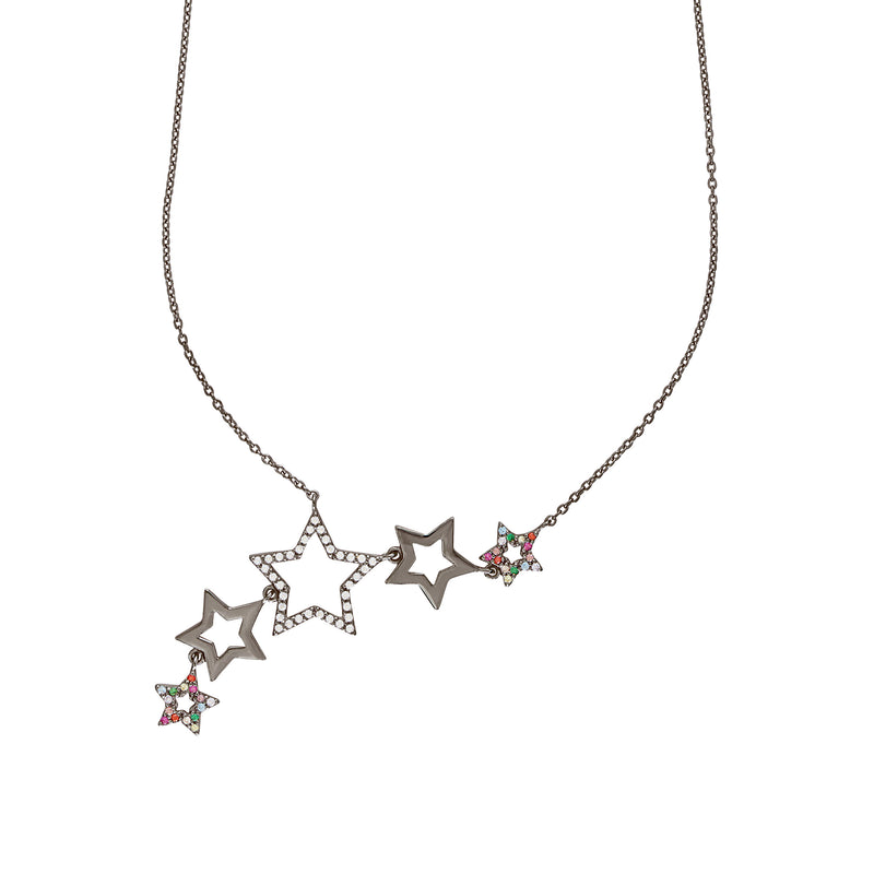 Black Rhodium Rainbow Star Cluster Necklace