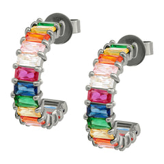 Black Rhodium Rainbow Emerald Cut Hoops